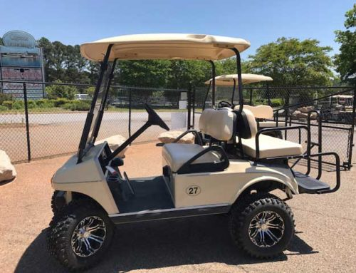 Two 2004 Club Car DS, 4 passenger, lifted, 23″ wheels, cream color. $4000.