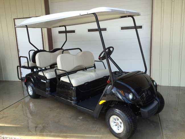 Yamaha 6 seater golf car in black race city golf cars for Electric golf cart motor repair